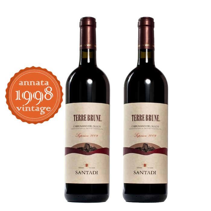 2 bottiglie di Terre Brune - Carignano del Sulcis DOC (1998) Bottle 75 cl